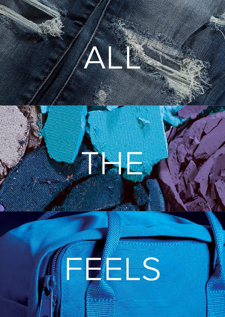 Image of ripped blue jeans, blue pieces of eye shadow, and a blue backpack with All The Feels written in white text